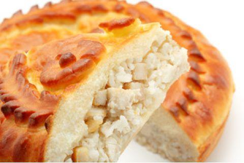 Пирог с курицей, рисом и грибами